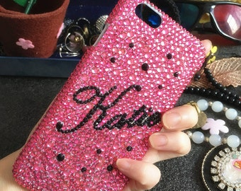 Pink Bling Personalized Diy Name Cursive Letter Word Luxury Lovely Fashion Sparkles Crystals Rhinestones Diamond Cover Case for Mobile Phone