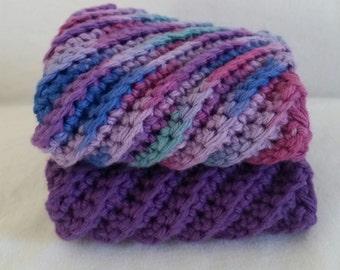 Purple crochet dishcloths