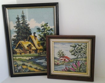 Vintage needlework tapestries in frames, house and landscape handstitched pictures, framed needlepoint embroidery