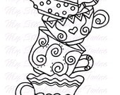 Digital stamp colouring image - Mad hatter Teacup stack 2. jpeg / png