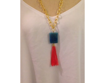 Bright Coral and Turquoise Tassel Necklace