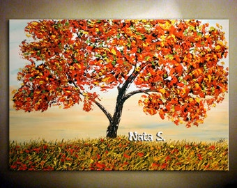 """Original Landscape Painting.Abstract Large Artwork Painting.Impasto.Palette Knife.Wall Decor. 36"""" Fall Miniature - by Nata.....MADE to ORDER"""