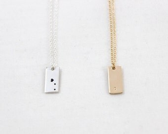 Mini Rectangle Necklace, Personalized Vertical Rectangle Necklace in 14k Gold Filled or Sterling Silver