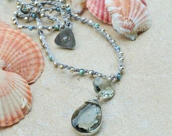 Long necklace VINTAGE crochet ASSEMBLAGE, Smoky CRYSTAL pendant, repurposed chandelier, original Italy handmade by Italianshopvintage