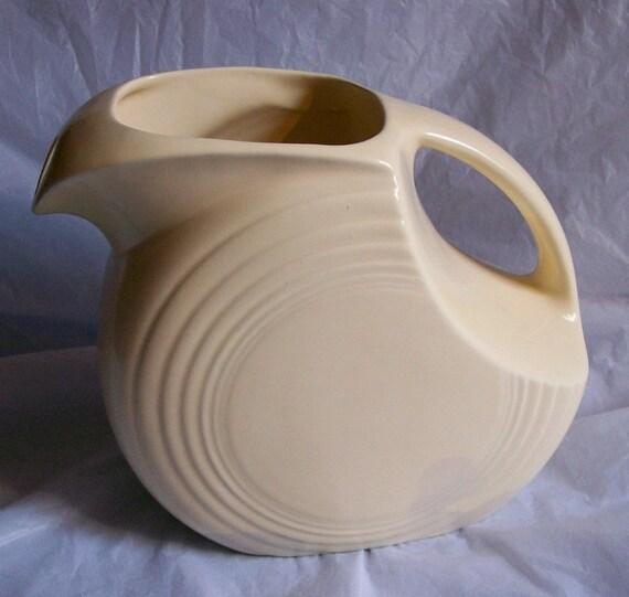 Vintage Fiesta Ware Original Ivory Disk Water Pitcher