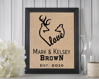 Browning Deer Heart Sign | Wedding Gift