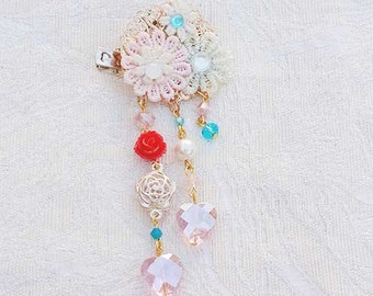 Lace Flower Bunch with Red Rose Hair/Brooch Accessory
