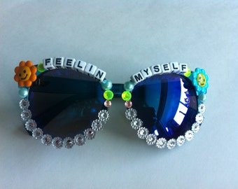 Blue Bedazzled Sun Glasses