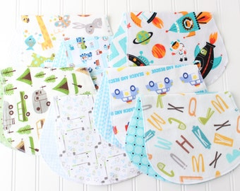 Baby Boy Burp Cloths - Set of 7