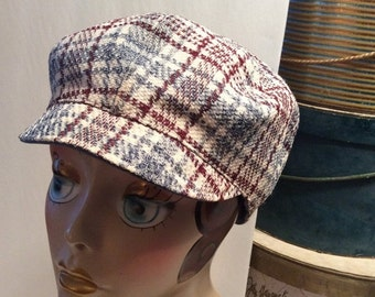 50% Off Sale Vintage Tweed Wool Newsboy Hunting/Driving Cap Hat