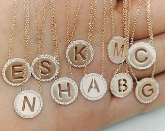 Letter pendant silver necklace