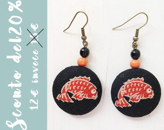 Earrings with carp in Japanese fabric