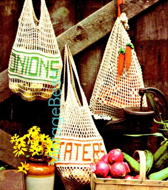 Crochet Vegetable Bag Pattern : Bag Crochet Pattern Vintage 1970s Mesh Veggie by VintageBeso