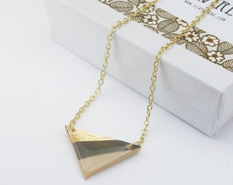 Neutral Color Gold Triangle Necklace, Brown Beige Stripe Pendant Necklace, Color Block Geometric Statement Necklace, Nickel Free Jewelry