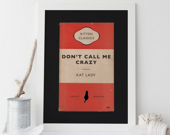 Penguin Books CAT Poster Crazy Cat Lady Poster Mid Century Orange Art Print Giclee Cat Print Cats Kitty Kitten Ribba Penguin Classics