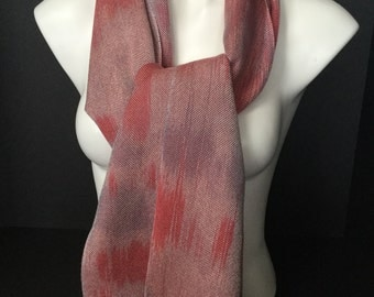 Hand-dyed, handwoven Tencel scarf/wrap in pinks and greys -HSS10