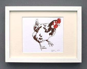 Chicken print - kitchen art - Farm Print - Kitchen Decor - Animal Print Nursery - Letterpress prints - small prints - Contemporary art print