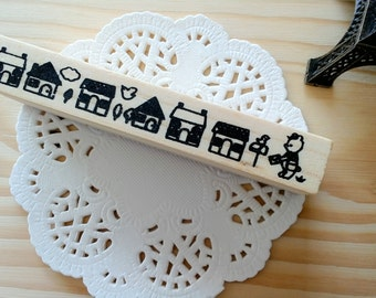 Stamp Tree Cartoon Houses Wooden Rubber Stamp/1 PC