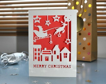 Merry Christmas Card - Handmade Paper Cut - 5x7 Inches