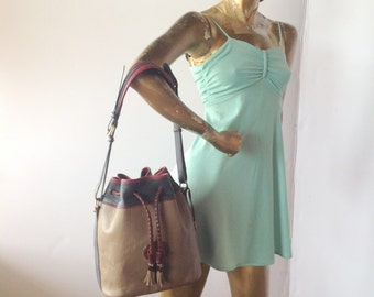 sz x large vintage toffee and sapphire color leather DOONEY and BOURKE drawstring purse