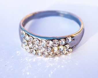 2 Vintage Rhinestone Rings, Super Sparkly, Size 7.5 and 7.75