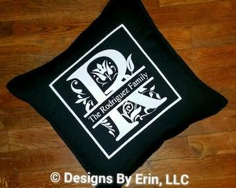 Split Letter Personalized Down Pillow