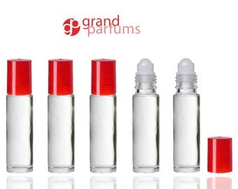 6 Clear Roll On Bottles W White Caps Premium Roller Balls For
