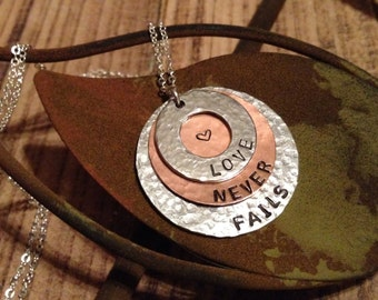 Love Never Fails / Hand Stamped Necklace
