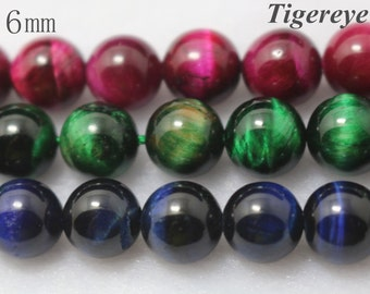 6 mm Dyed Tigereye, Smooth Round Beads, 15 inch strands