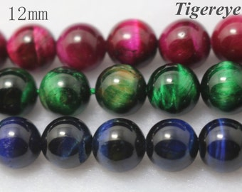 12 mm Dyed Tigereye,Smooth Round Beads, 15 inch strands
