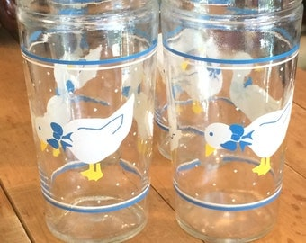 Vintage 1980's Set of Four Anchor Hocking Geese Drinking Glasses