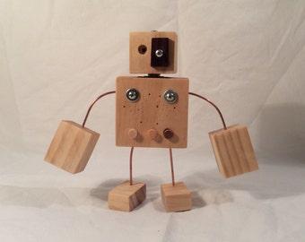 Eyepatch Wood Robot