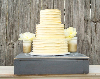 "Personalized Wedding Cake Stand, Rustic Wood Cake Stand, 18"" Wedding Cake Box"