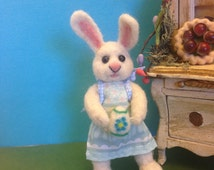 OOAK, Needle Felted Bunny, Easter Bunny Hand Sculpted, Fiber Artist Collectible