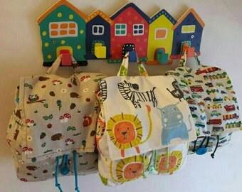 Colourful handmade backpack.