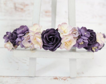 Dark purple lilac flower crown - floral hair wreath - flower girl crown - wedding headpiece - flower hair accessories - hair garland