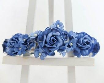Royal cobalt blue flower crown - headpiece - flower garland - floral hair wreath - hair accessories - garland