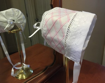 Baby Bonnet pink and white