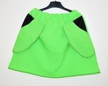 Closing sale! Neon green summer skirt Green mini Women bell skirt Colorful Summer  Large side pockets skirt OOAK Neon skirt Green skirt