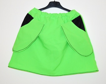 CLOSING SALE PRICE Neon green summer skirt Green mini Women bell skirt Colorful Summer  Large side pockets skirt Neon skirt Green skirt