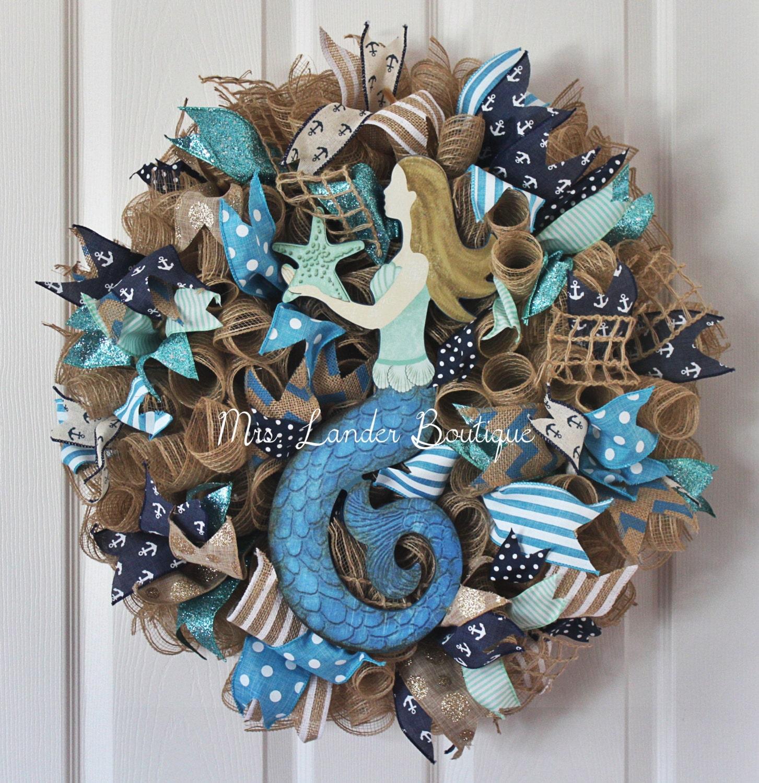 Teal Blue Mermaid Burlap Deco Mesh Wreath Beach Wreath