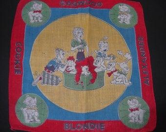 Child's Vintage Blondie and Dagwood Vintage Cartoon Collectible Hankie Estate Sale 1950's