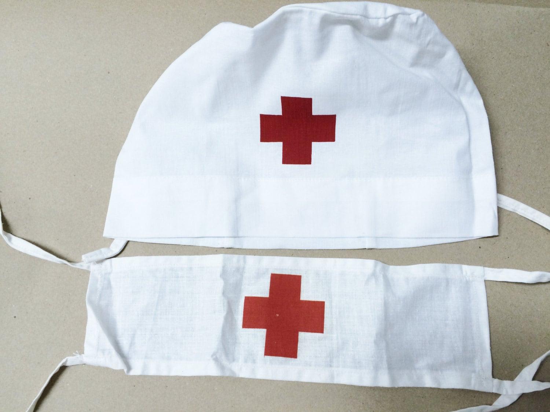 White pinafore apron nurse - Vintage Medical Red Cross Armband And Doctor Nurse Surgeon White Cotton Hat Cap Wedding Hangover Doctor Nurse Costume