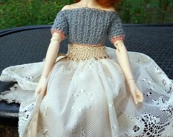 BJD MINIFEE light cream layered lace skirt