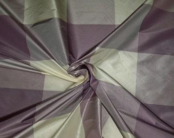 LEE JOFA Kravet MARAIS Plaid Check Silk Taffeta Fabric 15 Yards Lavender Cream