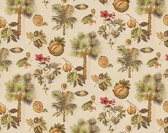 KRAVET LEE JOFA Tropical Sabel Palmetto Palm Trees Fruits Linen Fabric 10 Yards Beige Burgundy Red Green Brown