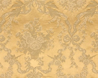 BRUNSCHWIG & FILS Floral Medallions Silk Damask From France Fabric 10 Yards