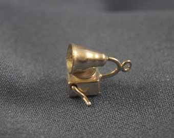 Movable Victrola phonograph silver color charm
