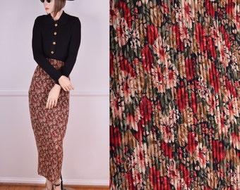 90s High Waisted Floral Maxi Skirt