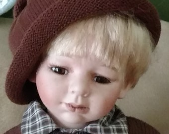 "Vintage 19"" Unmarked Boy Porcelain Doll (Schneider??) Blonde Hair Brown Eyes w/Real Lashes"